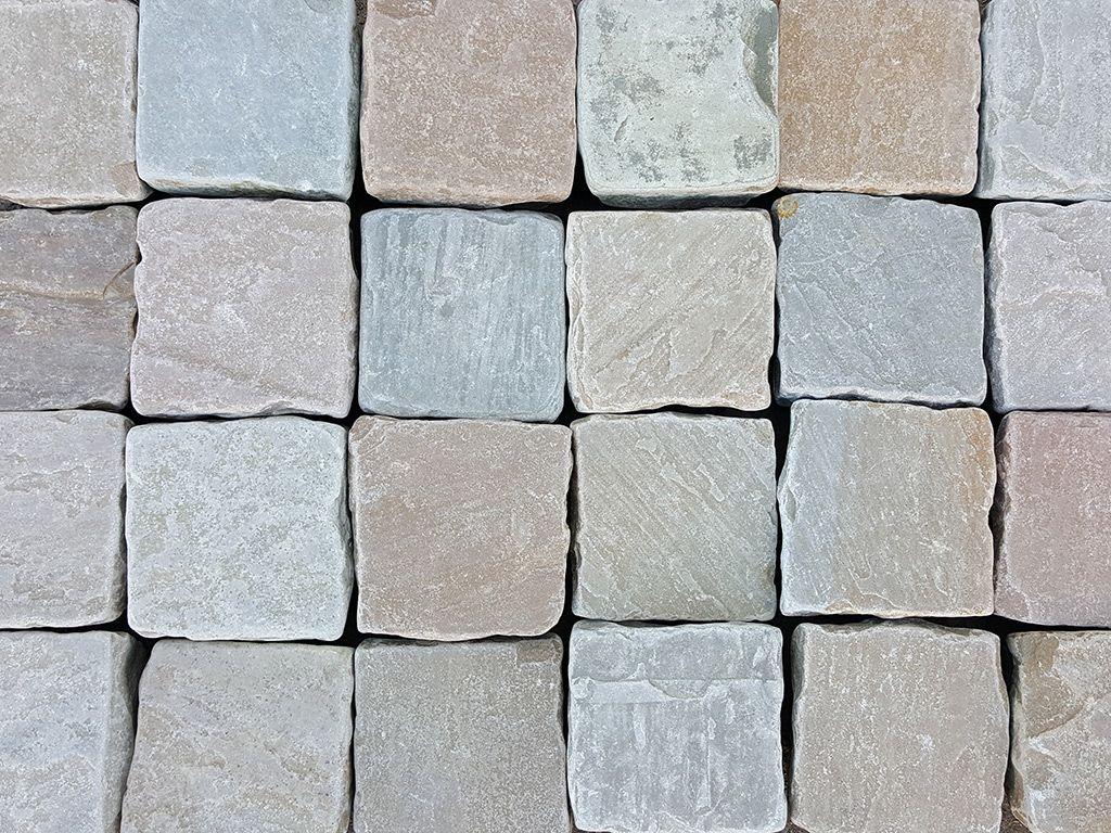 Raj Blend Indian Sandstone Cobbles Setts 100 X 100mm