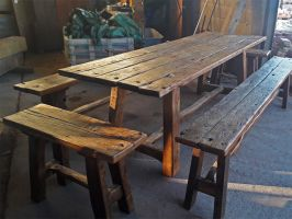 Reclaimed Oak Dining Table and Benches