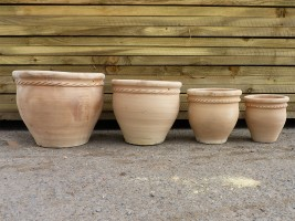 Set of 4 Clay Garden Plant Pots