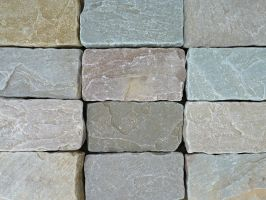 Raj Blend Indian Sandstone Cobbles/Setts - 200 x 100mm