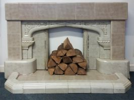 Reclaimed 1940's Art Deco Style Fireplace