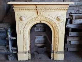 Reclaimed Cast Iron Painted Fireplace