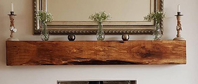 Restored Oak Mantel Beam Adds Rustic Charm