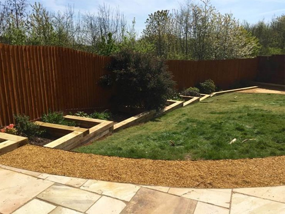 Softwood Sleeper Stepped Flower Beds