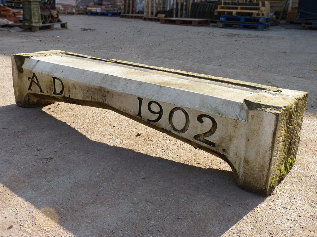 Victorian stone bench feature with engraved date